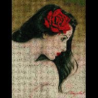 Patrón de punto de cruz  Mujer con rosa roja