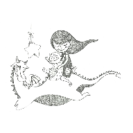 Dragón y niños